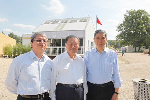 Delta's Founder and Honorary Chairman Bruce Cheng (middle), Chairman Yancey Hai (right) and EMEA President Jackie Chang(left) in front of the