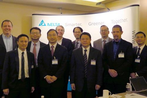 M.S. Huang, president of DPC (back, 2nd from left), Victor Cheng, GM of Delta PSBG (front, middle), Herman Chang, GM of Delta EC BD (back, 2nd from right), and Charles Zhu, director of DPC automotive business (front, 2nd from left), and representatives from DOE, DTE Energy, and Mercedes Benz