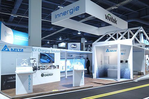 Delta, Innergie, and Vivitek at the first time, are showcased together at Delta's booth at CES 2015.