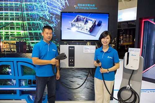 Delta showcases its integrated capability at COMPUTEX 2017. Delta's Chief Executive Officer Mr. Ping Cheng (left) and Chief Brand Officer Ms. Shan-Shan Guo introduce Delta's EV charging solution to media.