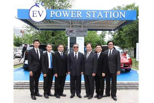 Delta team group photo at the EV charging station