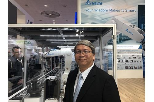 Jackie Chang, president and general manager of Delta EMEA, introduces Delta's new High-Flexibility Multi-Tasking Smart Production Line at Hannover Messe 2018.