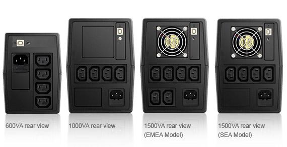 VX Series, Line-interactive, 600/1000/1500VA - rear view